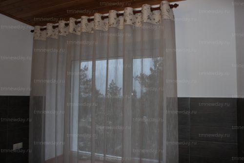 Комбинированая штора на люверсах в санузел