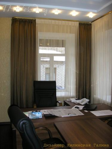 Нитяные шторы в кабинете