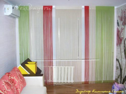 Нитяные шторы в зале