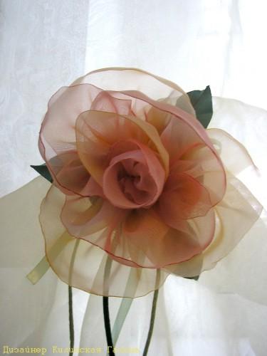 Авторский подхват - цветок из ткани (2)